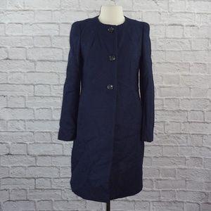 Ann Taylor Wool Navy Blue Tweed Long Coat 8